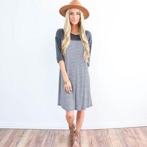 Shop Stevie Dixie Stripe in Navy dress